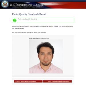 Удачно загруженное фото на визу в США