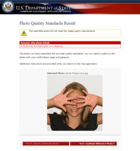 Неудачно загруженное фото для визы в США