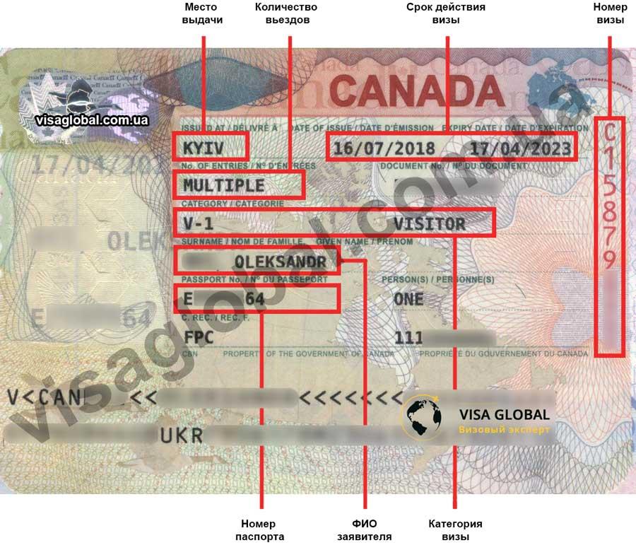 Пример визы в Канаду 2019